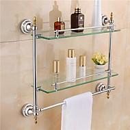 Prateleira de Banheiro Cromado De Parede 54* 12 *47.5 cm(21*4.7*18inch) Latão / Vidro Contemporâneo