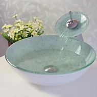 Badkamer Sink Set, gehard glazen vat zinken met waterval kraan, montage en waterafvoer