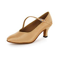Customizable Women's Dance Shoes Modern/Ballroom Leatherette Chunky Heel Brown