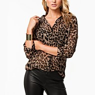 Women's Leopard Animal Print Shirt , V Neck Long Sleeve