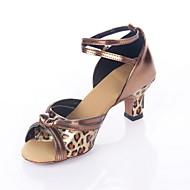 Non Customizable Women's Dance Shoes Latin/Ballroom Leatherette Chunky Heel Leopard
