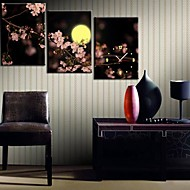 The Plum Blossom onder de maan Klok in Canvas 3pcs
