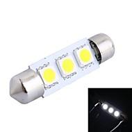 39mm 0.6W 50LM 6000K 3x5050 SMD LED blanco para la lectura del coche / matrícula / lámpara de la puerta (DC12V, 1pcs)