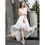 Lanting A-line Petite / Plus Sizes Wedding Dress - Ivory Asymmetrical V-neck Georgette