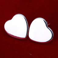 Sweet Heart Shape Silver Plated  Earring Studs(Silver)(1Pair)