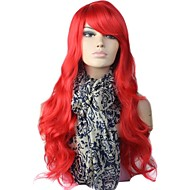 Red Party Korkiton High Quality Long Big Wave Synteettinen Wig Side Bang