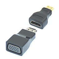 2 i 1 1080P Mini HDMI / HDMI til VGA Video Converter Adapter