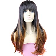 Full Bang Two Tone Long Hög kvalitet Big Wave Kvinna Elegant Fashion Ombre Synthetic Celebrity peruk