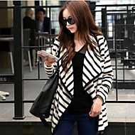 Women's Striped White Vintage/Casual/Party/Work Asymmetrical Long Sleeve