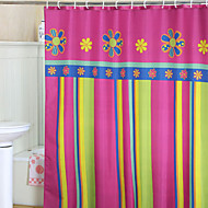וילון מקלחת Vivid צבעוני של פרחים ופסים