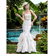 lanting de novia adecuado& flare petite / tallas grandes de la boda vestido palabra de longitud satén sin tirantes