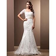 Lanting sposa tromba / sirena petite / più dimensioni abito da sposa-sweep / spazzola pizzo innamorato treno