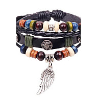 leather Charm Bracelets Unisex's Flowers Wings Style  Beads Leather Braided Bracelets Christmas Gifts