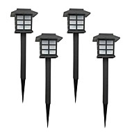 Set of 4 White Solar Lawn Lamp Garden Stake Light