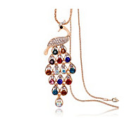 Lucky Star Women's Vintage Colorful Peacock Chain Necklace