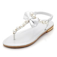 Women's Spring Summer Comfort T-Strap Leather Casual Flat Heel Bowknot Pearl Silver Gold