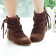Women's Fall / Winter Fashion Boots Suede Casual Wedge Heel Black / Brown / Yellow / Beige