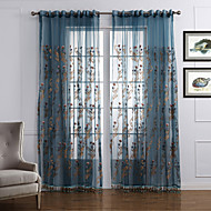 Two Panels Neoclassical Floral / Botanical Blue Bedroom Polyester Sheer Curtains Shades