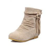 Women's Fall Winter Fashion Boots Dress Flat Heel Tassel Black Brown Yellow Beige