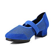 Non Customizable Women's Dance Shoes Dance Sneakers Fabric Flat Heel Black/Blue/Red