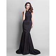 Formal Evening Dress - Black Plus Sizes Trumpet/Mermaid Jewel Court Train Lace/Stretch Satin