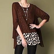 Normal - Solid/Tynn - Fritid/Arbeid/Plusstørrelser - Chiffon/Polyester) Bluse
