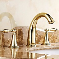 Traditional Widespread Two Handles Three Holes in Ti-PVD Bathroom Sink Faucet