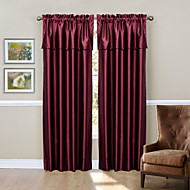 Modern Two Panels Solid Burgundy Living Room Polyester Blackout Curtains Drapes