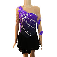 Girl's Purple and Black Spandex Long Sleeve Figure Skating Dress(Assorted Size)