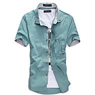 Men's White/Black/Blue Plus Size Short Sleeve Shirt
