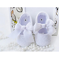Girl's Flats Spring Fall Crib Shoes Cotton Party & Evening Flat Heel Bowknot White