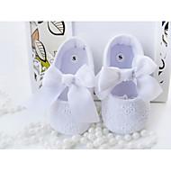 Para Meninas-Rasos-Sapatos de Berço-Rasteiro-Branco-Algodão-Festas & Noite