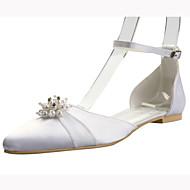 Elegant Satin Flat Heel Flats with Imitation Pearl Wedding Shoes(More Colors)