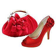Women's Shoes Peep Toe Stiletto Heel Satin Pumps Shoes Matching Satin Evening Bag