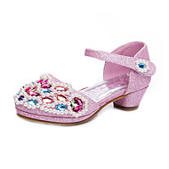 Girl's Heels Summer Round Toe / Closed Toe Leatherette Outdoor / Casual Low Heel Rhinestone / Sequin Pink / Silver / Gold