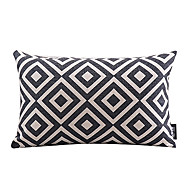 Cotton/Linen Pillow Cover , Plaid Modern/Contemporary