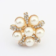 Fashion Sweet Pearl Rhinestone Adjustable Ring