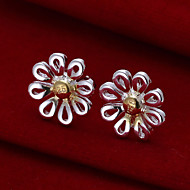 Sweet Flower Shape Silver Plated Foreign Trade Earring Studs(Silver)(1Pair)