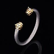 u7® neue coole Löwenkopf Stulpearmband 18k Gold überzogenes Titan Stahl lieopard Armband für Männer oder Frauen