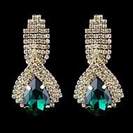 패션 우아한 사파이어 푸른 물이 크리스탈 귀걸이 (파랑, 녹색, 흰색)와 모조 다이아몬드 귀걸이 방울 (1 쌍)