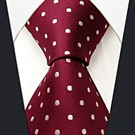 S15 Shlax&Wing Red Dots Maroon Wedding Necktie Men's Tie Fashion Extra Long