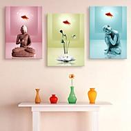 étiré bouddha d'art de toile et de lotus décoration ensemble de trois