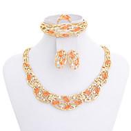 WesternRain Women Austrian Rhinestone Orange Stone Pendant Necklace Jewelry Sets