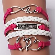 Bracelet Charmes pour Bracelets Bracelets en cuir Bracelets Alliage Cuir Forme de Coeur Infini Amour Cœur Amitié Ajustable Bijoux initial