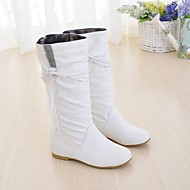 Women's Spring Fall Winter Comfort Fashion Boots Leatherette Dress Flat Heel Lace-up Tassel Black Yellow White
