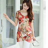 Women's Floral Red/Green Blouse, U Neck Short Sleeve Layered Hem
