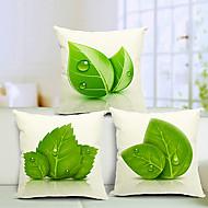 set om 3 vackra blad bomull / linne dekorativa örngott