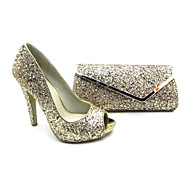 Women's Shoes Peep Toe Stiletto Heel Pumps Shoes Matching Clutches Bag More Colors available