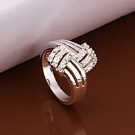 Fashion  Geometric Shape  Silver Plated Zircon Ring(Silver)(1Pc)