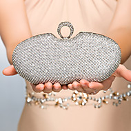 Women Bags Metal Evening Bag with Crystal/ Rhinestone for Event/Party Gold Black Silver